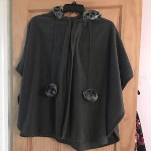 Jackets & Blazers - Fleece hooded poncho with animal trim and poms